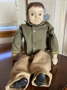 Vintage Civil War Soldier Doll Handmade Cloth And Resin