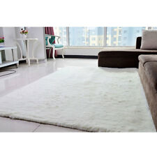 Fluffy Rugs Anti-Skid Home Dining Bedroom Carpet Rectangle Floor Mat Ivory