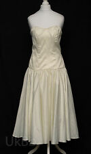 Wedding Dress Vintage Ronald Joyce Ivory Satin Tea Length 10 12 R180