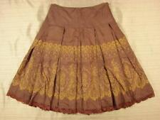 Odille pleated Silk/Cotton Ornate Print Skirt 2 lace trim gold on brown