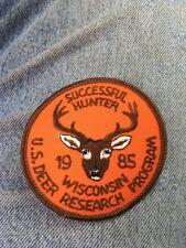Successful Hunter 1985 Wisconsin Patch. U.S Deer Research Program Blaze Orange