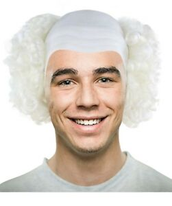 Colorful Men's Creepy Evil Overhead Circus Killer Clown Cos Bald Head Curly Wig
