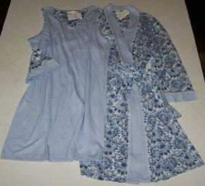 NWT Carole Hochman White/Blue PAISLEY~STRIPES Robe & Sleeveless Nightgown SET S