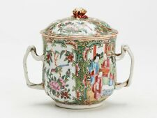 ANTIQUE CHINESE QING FAMILLE ROSE LIDDED HANDLED POT 19TH C