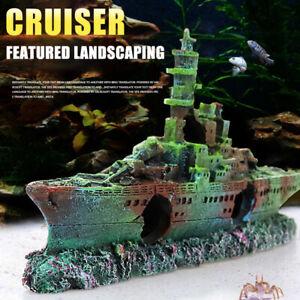 Aquarium Artificial Landscape Decoration Wreck Boat Resin Sunk Battleship Tank