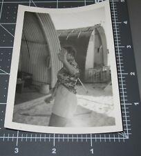 VINTAGE PHOTO FUNNY ODD WOMAN HIDES FACE BEHIND HAND ARMY WACS BASE Snapshot #4
