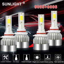 4X 9005+ 9006 LED Headlight Bulb Set Fog Light 4065W 609750LM Hi/Low Beam 6000K