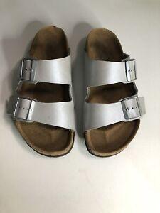 Birkenstock Arizona Regular Fit Silver Sandals - Size 4.5/EUR 37