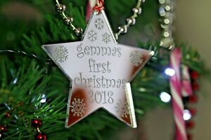 Baby's First Christmas Personalised Star & Snowflakes Bauble 1st Tree Decoration