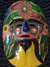 Tribal Clay Mask Wall Decor Bright Colors Floral Face Pottery