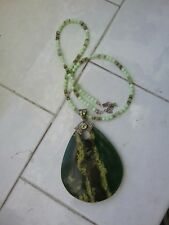 Sajen Pendent Necklace with Peridot and Large Teardrop Stone Jade or Quartz?