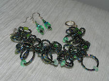 Estate Demi Dark Blue Aurora Borealis Barrel Bead Loopy Bracelet & Dangle Earrin