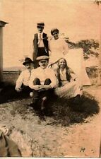 Antique Vintage Photograph People Wearing Cool Outfits Hats