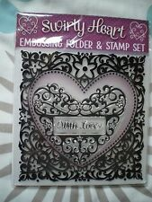 Brand New 'Swirly Heart' Clear Stamp Set & Embossing Folder