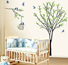 Large Birds Green Tree Birdcage Wall Sticker PVC Mural Decals DIY Home Decor luz