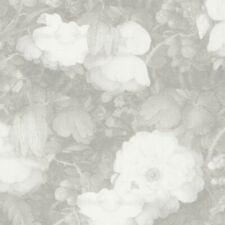 Grey Romatic Dutch Floral Watercolour Effect Wallpaper - 10m Roll