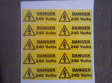 10 X Danger 240 volt stickers 100mm X 40mm Warning & Safety Signs