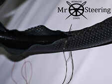 FOR AUSTIN MORRIS MINI BLACK PERFORATED LEATHER STEERING WHEEL COVER DOUBLE STCH