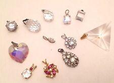 Vintage 12 pc Crystal Rhinestone Pendants Lot Estate Jewelry