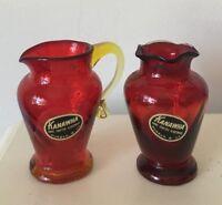 KANAWHA Amberina Swirl Pitcher & Ruffle Top Vase Set Pair w/Stickers Vintage