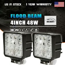 2X 48W Square LED Work Light Flood Lamp For Offroad Truck Tractor Boat Bar 12V