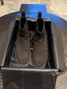 Saint Laurent Black Suede Chelsea Boots Size 42