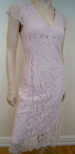 PADDY CAMPBELL Made In England Pale Pink Floral Lace Evening Dress UK12
