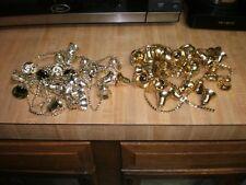 2 Vintage strands Gold Plastic Bells Garland Christmas Tree Decorations