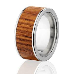 Exotic Hard Wood Wedding Band: Honduras wood Inlay in Titanium Ring, Wood rings