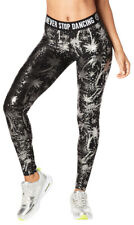 Zumba Never Stop Shinin' Ankle Leggings - Metallic ~ Black ~ size Large, XL, XXL