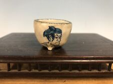 Mame Or Accent Size Hand Painted Bonsai Tree Pot By Ishida Shoseki,  1 1/2""