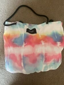 Victoria's Secret Pink Tie Dye Black Tropical Packable Beach Towel Tote Bag