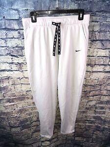 Nike Drifit White/Black💎 Ankle Zip SweatPants Size M🔥Free Ship💯RareOnly1👀