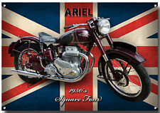 ARIEL SQUARE FOUR MOTORCYCLE METAL SIGN.1950'S VINTAGE MOTORCYCLEred