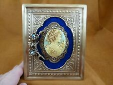CFL14-10) FRAMED CAMEO NOBLE Lady with flowers blue shelf wall desk picture art