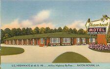 Vintage Postcard Linen Roadside Motel Shamrock Baton Rouge LA Louisiana