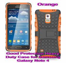 For Samsung Galaxy Note 4 Orange Heavy Duty Strong Protective Case Cover Stand