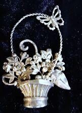 Vintage Sterling Silver Butterfly Basket Brooch Pin