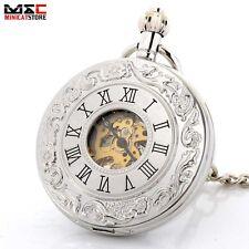 Vintage Silver Roman Skeleton Automatic Mechanical Pocket Watch Chain Steampunk