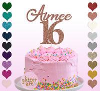 16th Name Cake Topper Custom Personalised Birthday Sixteen 18 21 23 25 30 50 60