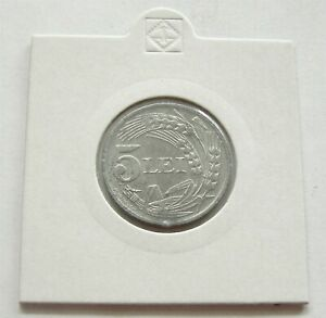 u844 ROMANIA 5 LEI 1942 ZINC COIN KM#61 aUNC