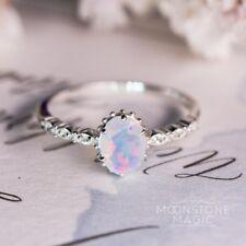 925 Silver Trendy Women Jewelry White Fire Opal Wedding Engagement Ring Sz6-10