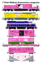 Pink Ribbon Awareness Locomotives and Freight Cars 7 magnets Andy Fletcher