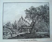 Zwingenberg Bergstraße Hessen echte  alte Lithographie 1840