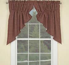 Country Wine Sturbridge Lined Prairie Swag Curtains 72WX36L Plaid Cotton