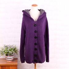 Crochet Oversize Hooded wool jumper coat Fleece lining Button KnitWear 12/14 L