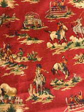 New listing Waverly Rodeo Show Wild West Cowboy Print Fabric Quilt Craft Sewing 3 yards