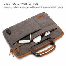 iPad Pro 10.5 Sleeve Case Zippered Crossbody Handle Bag USB Charging Port Brown