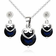 18K White Gold GP Blue Sapphire Swarovski Crystals Royal Set Necklace Earrings