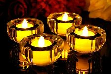 x2 Glass Crystal Candle Tea Light Holders with Flameless Battery LED Tealights
